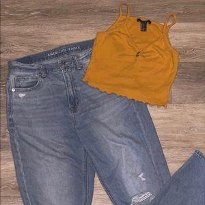 AE tom boy jeans || F21 crop tank BUNDLE